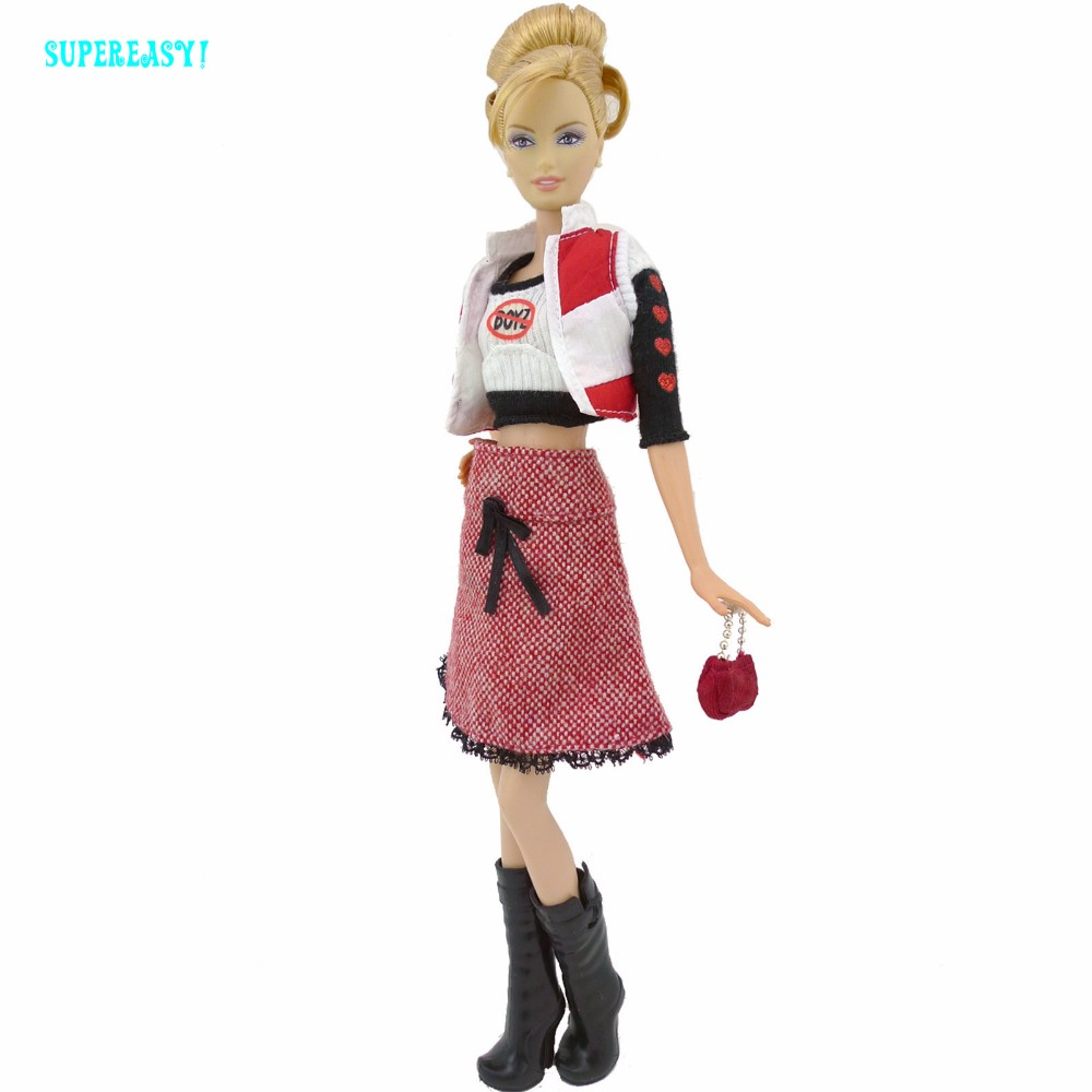 Autumn Winter Style Outfit Waistcoat Lengthy Sleeves Shirt Woolen Skirt Boots Footwear Garments For Barbie FR Doll Equipment Present