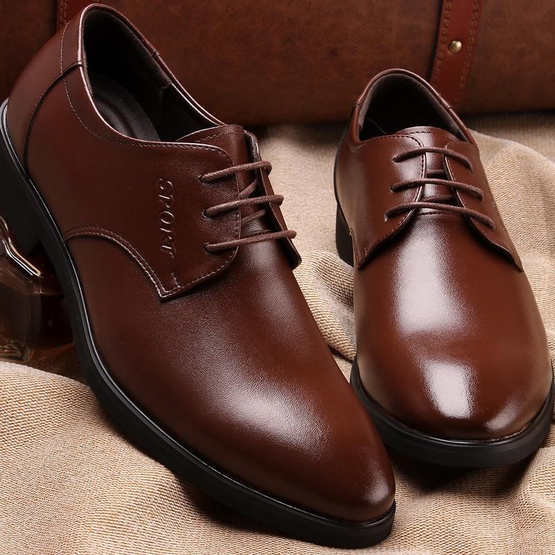 100% Genuine Leather Mens Dress Shoes, Oxford Shoes Men, Lace-Up Business Men Brand Wedding - Shanghai Ziran Electronic Commerce Ltd store