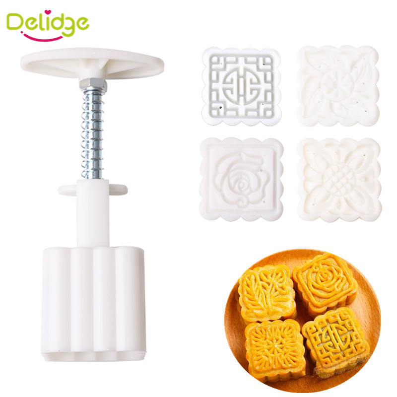 5 pcs/set Mid-Autumn Festival Square Moon Cake Mold Food-Grade Plastic 4 Pattern Moon Mold Press DIY Chinese Characteristics(China (Mainland))