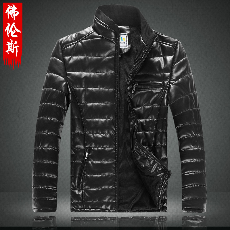 The winter of 2014 new men's motorcycle leathers cashmere PU leather collar with male youth big code jacket jacket(China (Mainland))