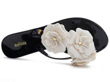Women's Sandals melissa style 2015 Summer Beach fashion women's bow flat heel flip flops beach slippers flip femal shoes(China (Mainland))