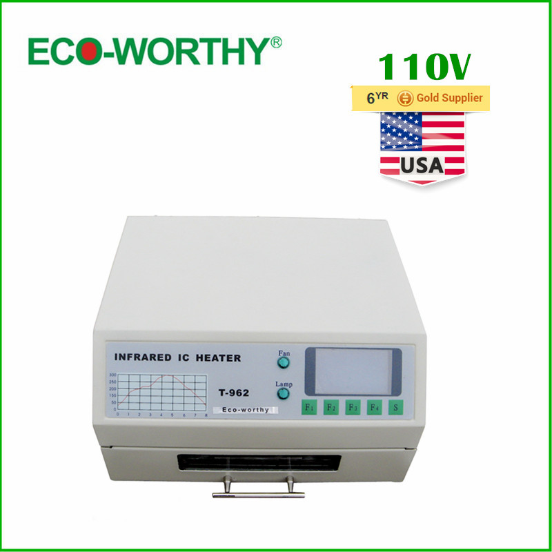 ECO USA Stock 110V T962 Digital Auto Infrared IC Heater Reflow Oven SMD Solder BGA 180*235mm 800W(China (Mainland))