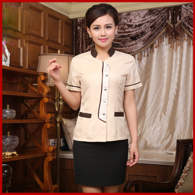 New Arrival  Summer Property Work Cleaners Women Hotel Shirts Short sleeve  Restaurant Room Attendant Waitress Clothing v123(China (Mainland))