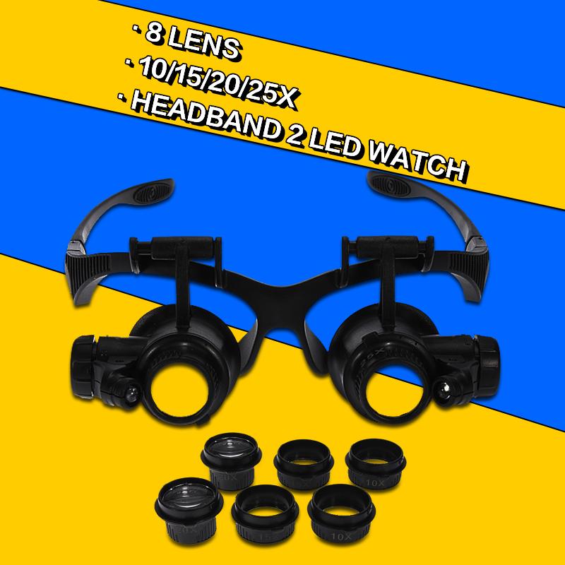 8 Lens 10x 15x 20x 25x Headband Double Eye Jeweler Watch 2 LED Watch Repair Fix Magnifier Head Magnifying Eye Loupe(China (Mainland))