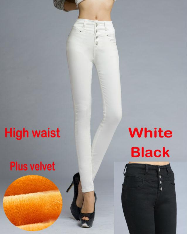 2014 Winter women high waist warm jeans thicken plus velvet skinny pencil pants denim trousers white black ! - HongKong TuoTian Jeans CO.,LTD store