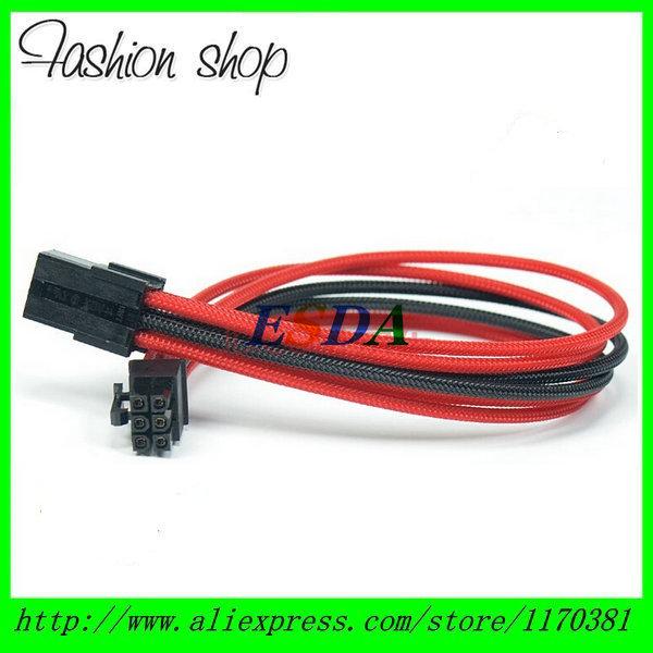 "Heatshrinkless Sleeved Black & Red 6 Pin PCIe PCI-E GPU Power Extension Cable - 30CM (12"")(China (Mainland))"