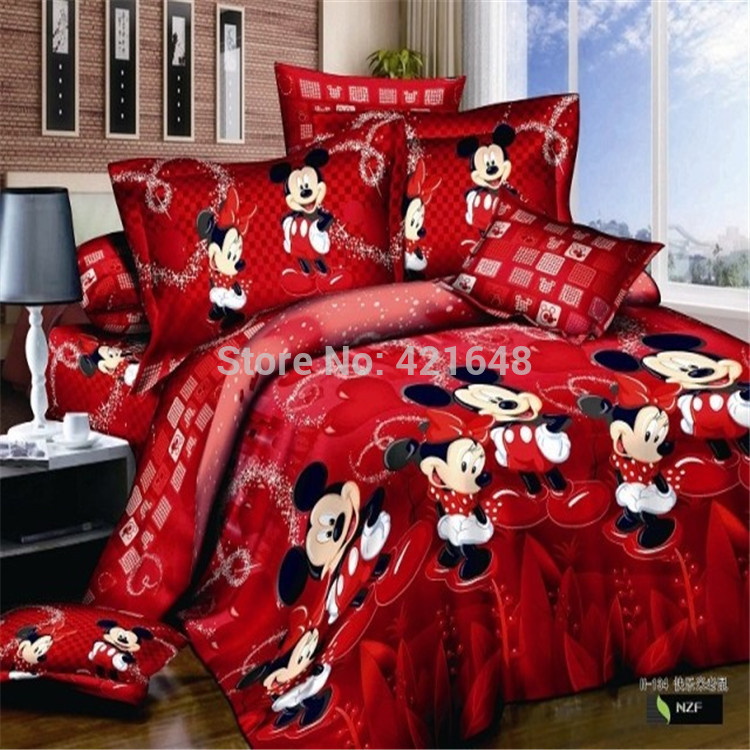 Red Mickey and Minnie Mouse Bedding sets/Sheet set/Duvet covers/Quilt Cover King/FUll/Queen Size Hot Sale,Free Shipping(China (Mainland))