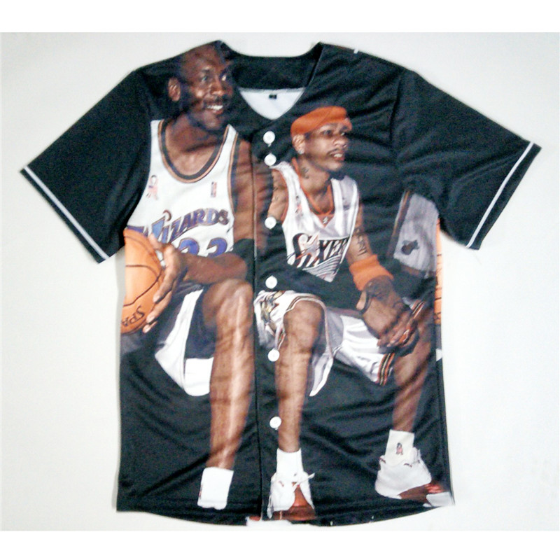 Real American SizeIverson x Michael Jordan 3D Sublimation Print Custom made Button up baseball jersey plus size(China (Mainland))