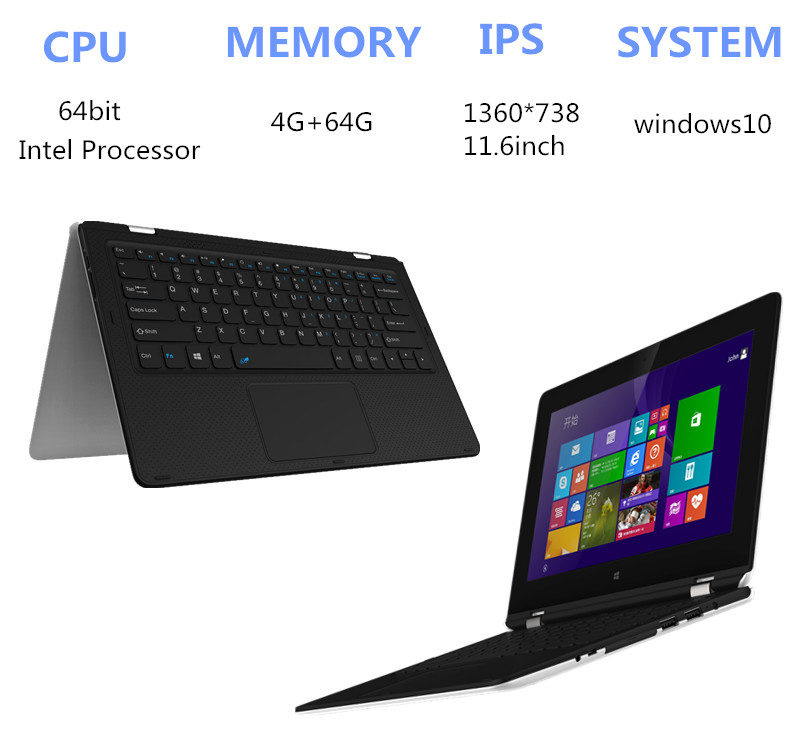 11.6 inch Atom X5-Z8300 laptop Touching Handwriting 4GB+64GB Windows10 Quad core HDMI with WIFI TF Card 1.44GHz tablet(China (Mainland))