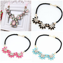 2015 Hot Sale Design Western Style Multi-layer Weave Rhinestone Flower Water Drop Necklace Jewelry Statement Bib Choker Necklace
