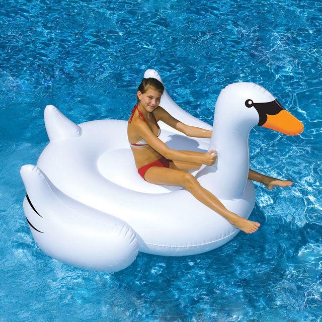 Белый озеро плавание воды гостиная ребенком пул гигантский верхового лебедь надувные поплавок игрушка высокое качество
