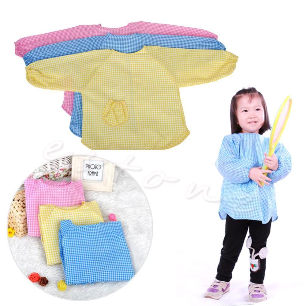 Free Shipping 1 pc 1pcs Baby ToddLer Kids Children Long Sleeve Waterproof Art Smock Bib Apron(China (Mainland))