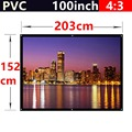 whole sale 100 Inch 4 3 PVC Fabric Matte With 1 1 Gain projection screen Wall