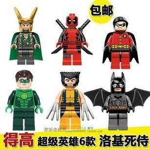 Wholesale 15lot Decool Building Blocks Super Heroes Avengers Minifigures Loki Wolverine Robin Deadpool Green Lantern Batman
