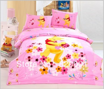 For Kids, 3 or 4pcs Twin/Full/Queen Flower Cartoon Beds Bed Set Doona Duvet Cover Set with Bedding Bag, Sheet & Pillowcase,Pink