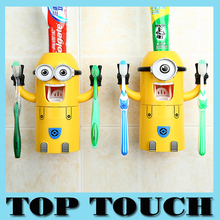 2015 new Cute Minions Design Set Cartoon minecraft Toothbrush Holder Automatic Toothpaste Dispenser with Brush Cup+Free Shipping(China (Mainland))