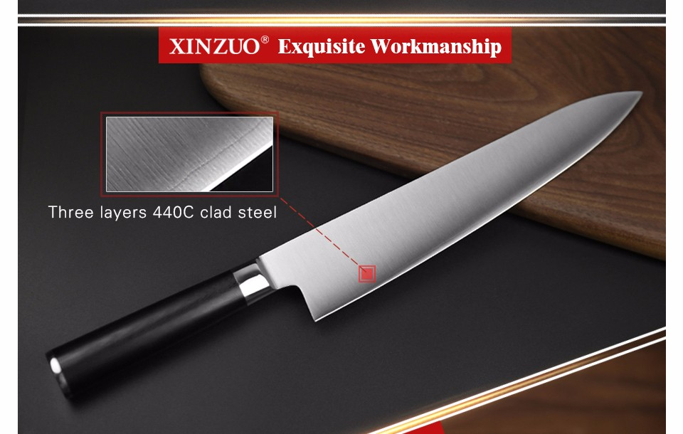 Buy XINZUO 9.5 inch butcher knife Germany stainless steel chef knife kitchen knives G10 handle Japanese cleaver knife free shipping cheap