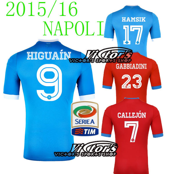 NAPOLI JERSEYS SOCCER 2016 HOME BLUE HIGUAIN  NAPOLI AWAY 15 16 JERSEY RED CALLEJON L.INSIGNE 24  MERTENS MICHU FOOTBALL SHIRT(China (Mainland))