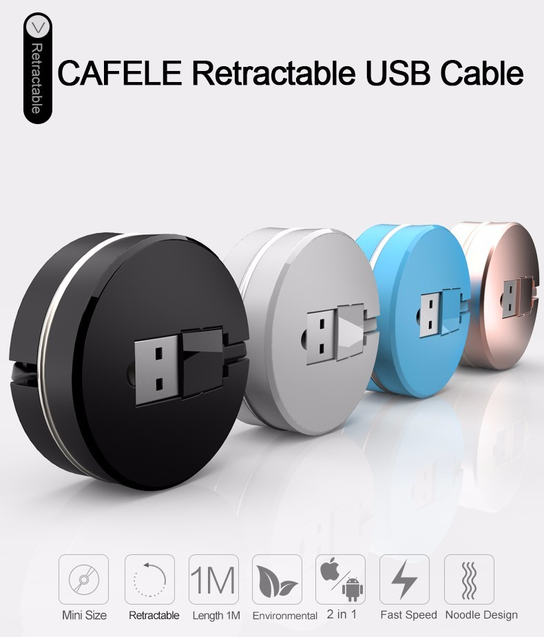 CAFELE IOS Andriod 2 in1 Micro USB Cable Mobile Phone Data Charger Cables 100cm Retractable Cable For iPhone 5 5s 6 plus Samsung
