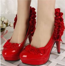 European hot fashion red flowers wedding dance party pumps shoes, TG125 mid low high heels red dress evening parties shoes(China (Mainland))