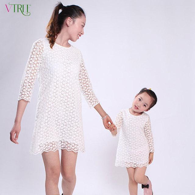 Лето мода мать и дети одеваются хлопка вышитые матери-дочери платье принцессы много-девочкам ...