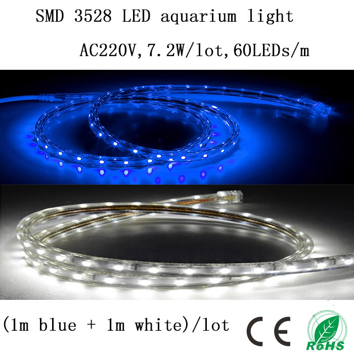 (1m Blue+1m White)/Lot 220V 7.2W/Lot SMD 3528 LED Aquarium Light Strip,Decorate The Fish Tank And Provide Illumination To Plants(China (Mainland))