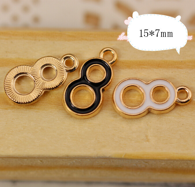 Mix Solid Alloy drop oil gold plated hollow out numbers Eight shape jewelry charms diy necklace/bracelet/key chain pendants(China (Mainland))