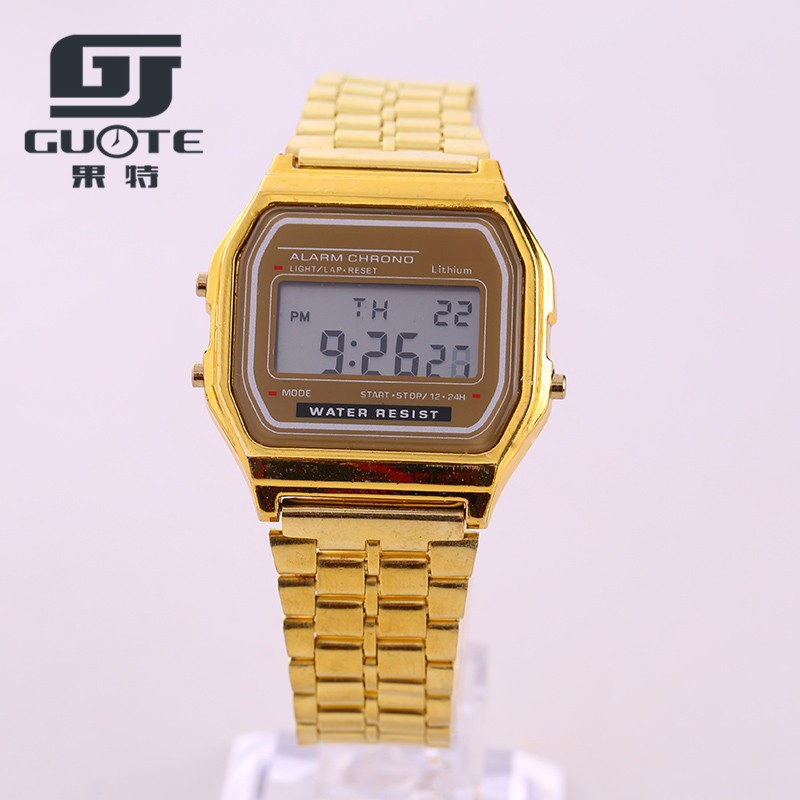 GUOTE Brand Fashion Design LED Watch Multifunction Life Waterproof Watch For Men Women Cheap Electronic Digital Watches Gold(China (Mainland))