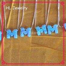 20PCS/Lot  Synthetic Opal Letter M 925 Sterling Silver Necklace(China (Mainland))
