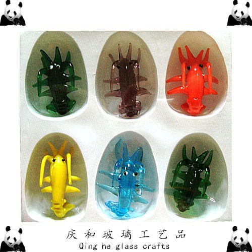 6 colors glass lobsters figurine coloured lobster langouste ornament christmas gifts crafts sets of limited P033(China (Mainland))