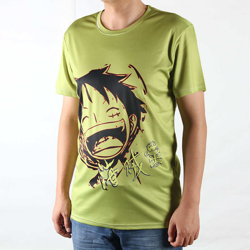 Hot sale men casual summer t shirts cartoon one piece for Where to get t shirts printed cheap