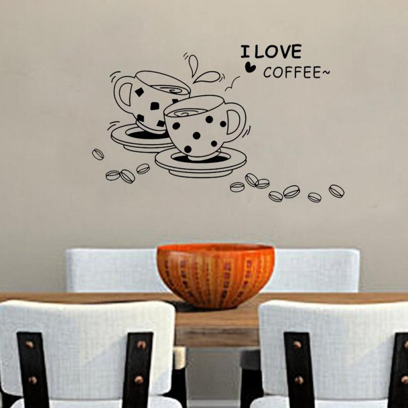 New Fashion DIY I Love Coffee Restaurant Storefront Kitchen Home Wall Sticker(China (Mainland))