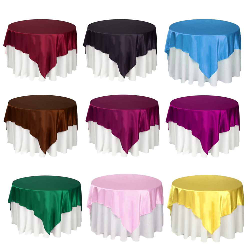 1pc Tablecloth Selling 145cm X 145cm Home Christmas Party Satin Table Cloth in 22 colors(China (Mainland))
