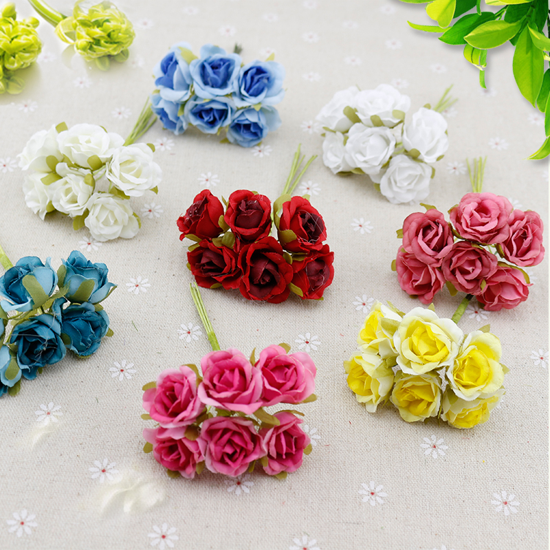 Buy 6 pcs silk gradient mini rose for Fake flowers for crafts