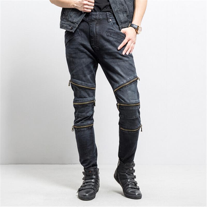 ripped jeans for men skinny Distressed slim brand designer biker hip hop black slim jeans kanye west Size 28-38