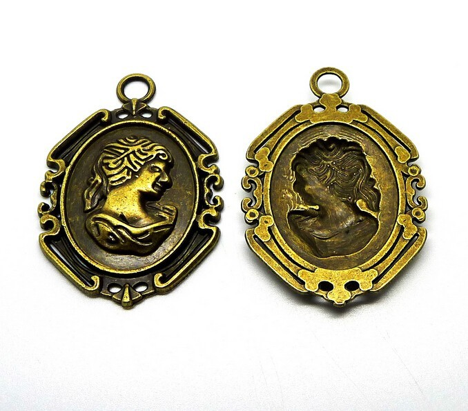 1pcs tibetan bronze Noble Queen tag charm pendants for jewelry making floating charm handmade diy 53x37mm(China (Mainland))