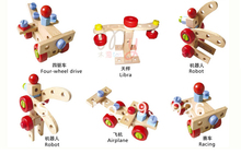 2013 brand new kid tool toy 31PCS changeble nut building blocks  intelligence toys beech wood non-toxic safe wooden toolbox toy(China (Mainland))