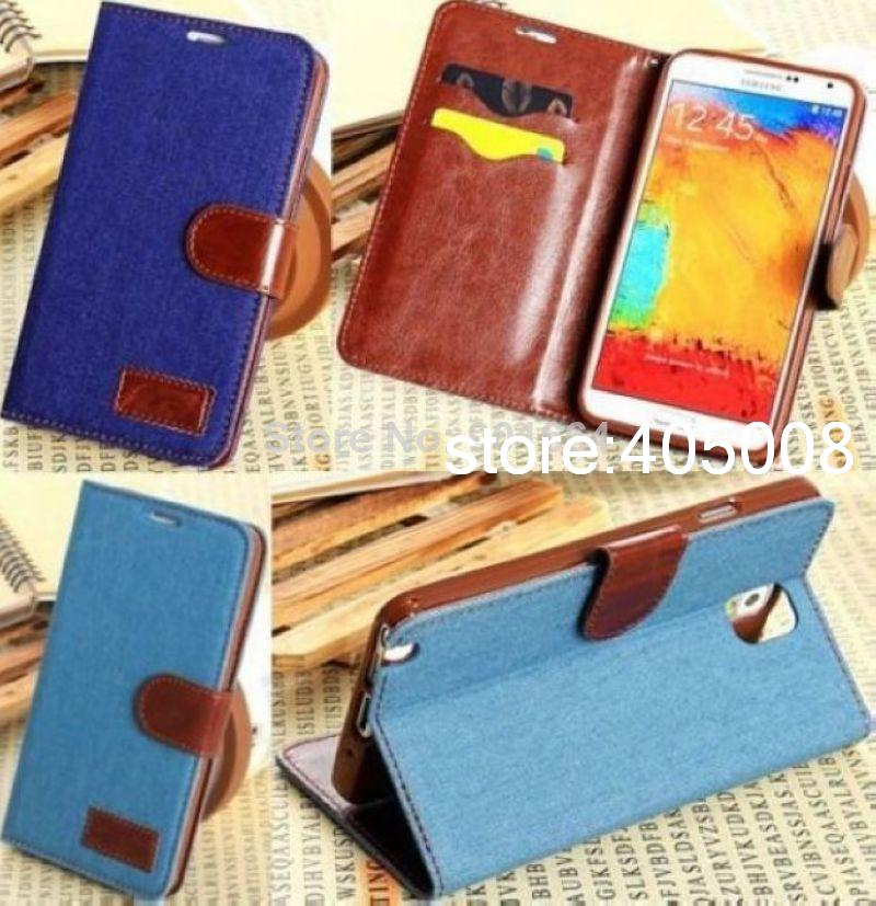 Wallet Pouch Denim Jeans Stand Leather Case For Samsung Galaxy Note 3 N9000 Note 2 N7100 Flip Cover DHL Free Shipping 50pcs/lot(China (Mainland))