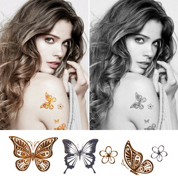 New 3 d sex product temporary tattoo henna tattoo arm bracelet flash metal gold tattoo false