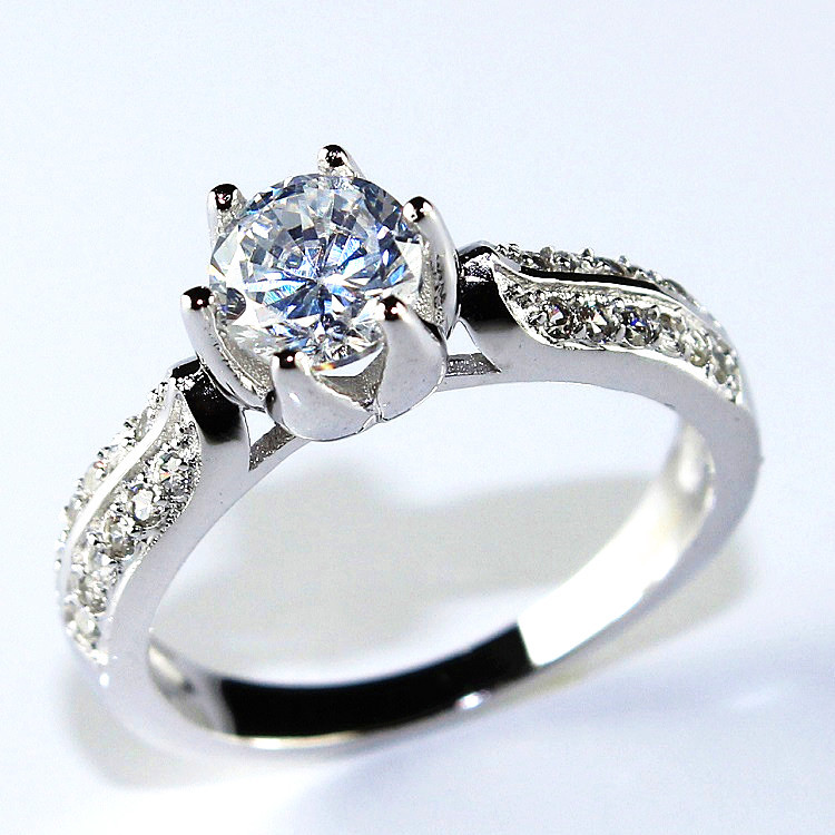 Fashion Wedding Engagement Rings for Women Wholesale 925 Sterling Silver Crystal Ring Jewelry 2015 Womens Jewellery