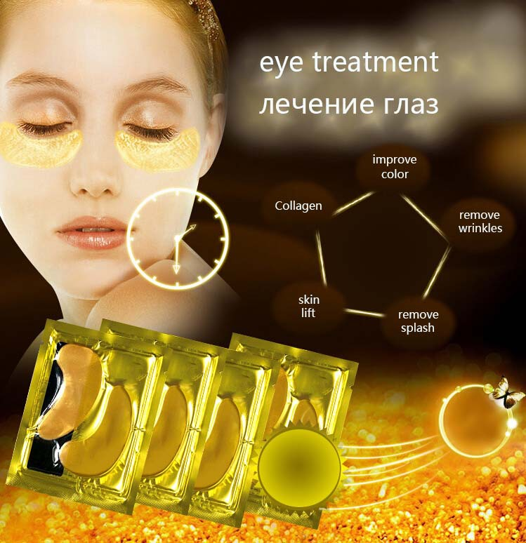 eye bags remover Korea R&D puffy black removal under treatment 24K NANO gold foil anti dark cicle aging eye cream mask face care(China (Mainland))