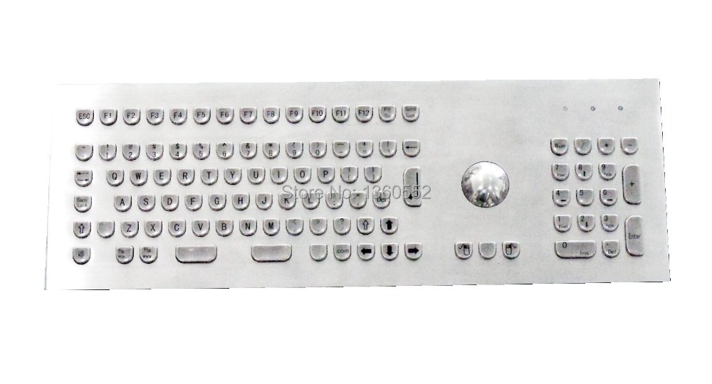 Stainless steel panel mount industrial keyboard with full layout and 38 mm trackball,Indukey key layout custom kiosk Keyboards(China (Mainland))