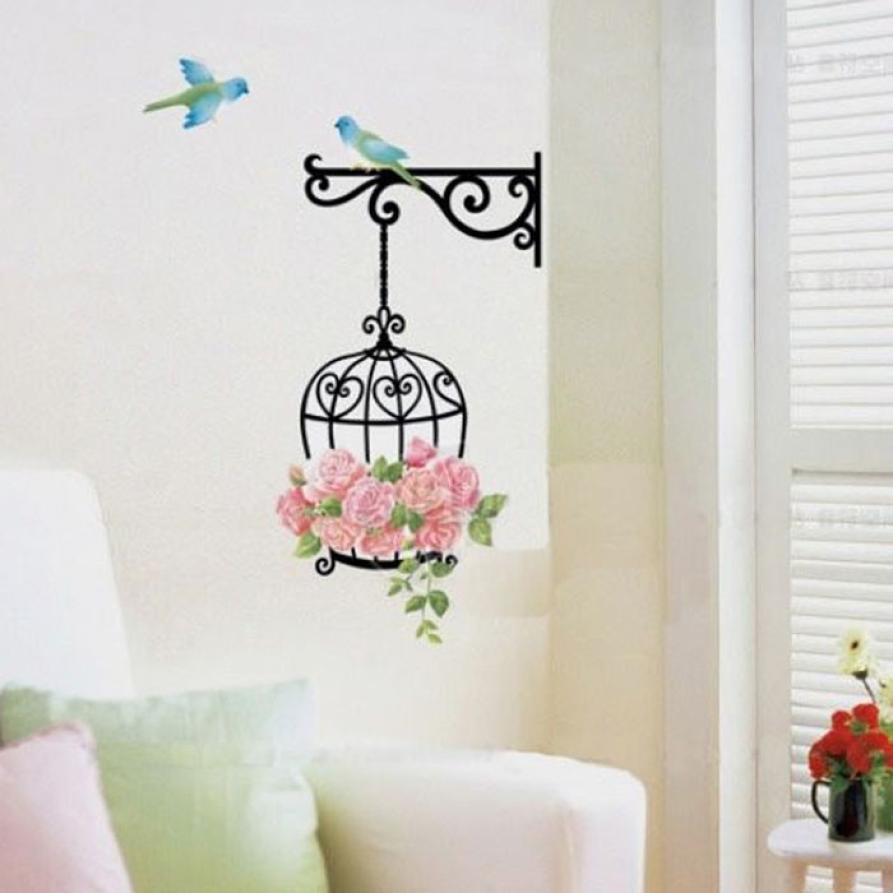 New Qualified Delicate New Fashion birdcage Wall Sticker Home Decor Vinyl Removeable Mural Decal with birds Hot Selling Jan9