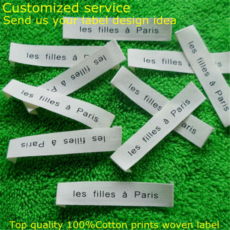 Custom 100%Cotton printed soft tag off white Garment woven folded label 60 mm * 10 mm MZ-2402(China (Mainland))