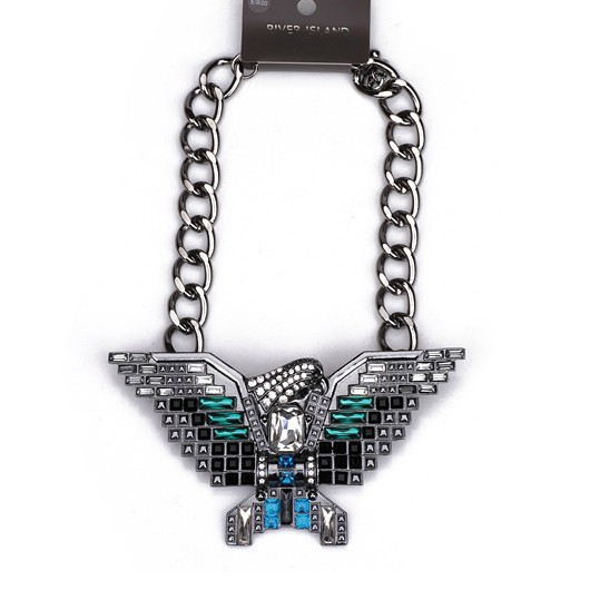 New Design Fashion Crystal Eagle Pendant Necklace black metal Chunky Statement Hawk Jewelry For Women Free Shipping(China (Mainland))