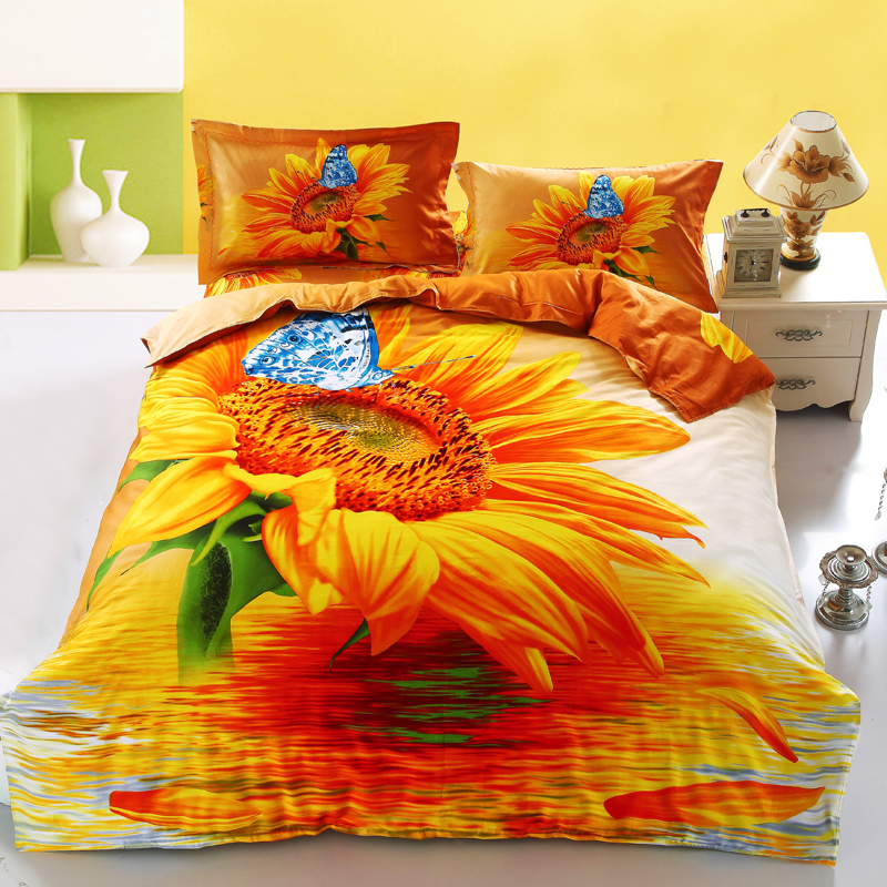 Golden sunflowers bedding sets 4pcs for king queen size 100%cotton bed duvet quilt cover butterfly 3d bedsheet linens bedcover(China (Mainland))
