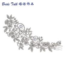 Development Prolonged Flower Wedding ceremony Hair Comb Gold & Silver Clear Rhinestone Crystal Hair Tools Women Jewelry