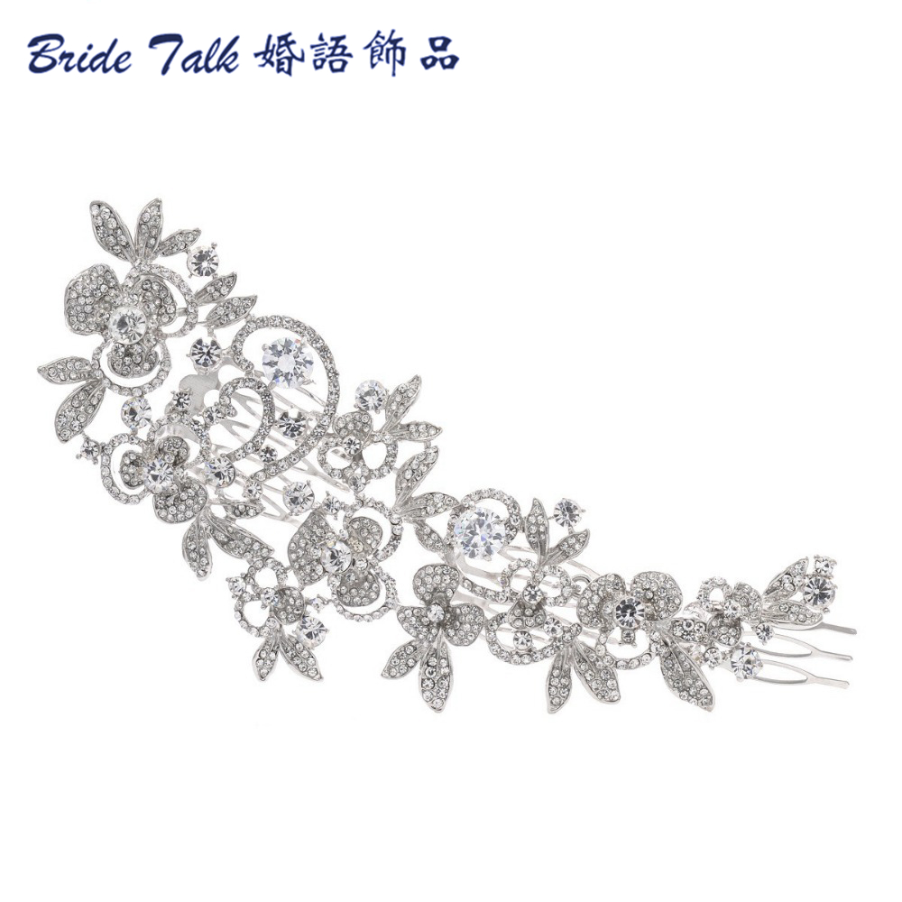 Fashion Long Flower Wedding Hair Comb Gold & Silver Clear Rhinestone Crystal Hair Accessories Women Jewelry(China (Mainland))