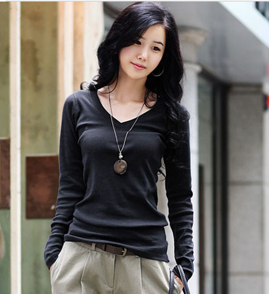 Winter long sleeve t shirt large size women 39 s sexy v neck for Large shirt neck size