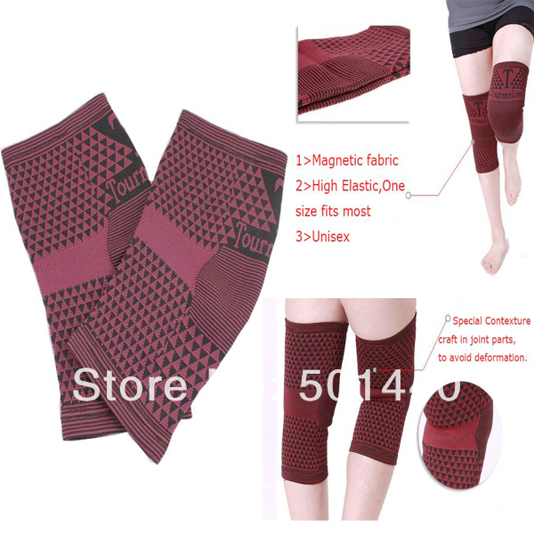 Free Shipping Elastic Spandex Magnetic Tourmaline Infrared Knee Support(China (Mainland))